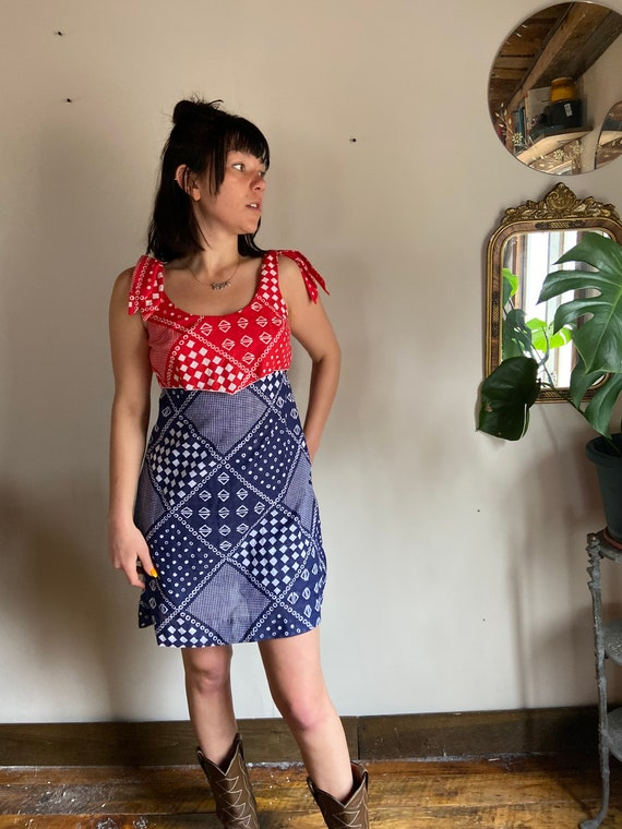 Vintage 1970s Patterned Picnic Romper Dress