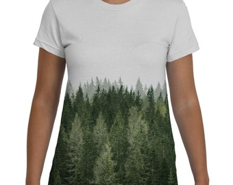Forest, Womens Tshirt, Trees, Girls Tee, Wilderness