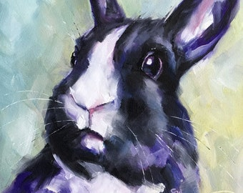 "Rabbit portrait original oil painting one-of-a-kind bunny ""Easter Surprise"""