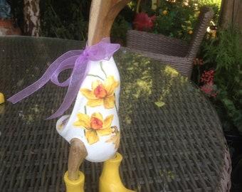 Beautiful daffodil duck in boots