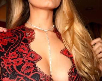 Prom Jewelry Rhinestone Necklace Rhinestone Choker Diamond Choker Body Chain Lariat Necklace Rhinestone Necklace Bridal Party Gift