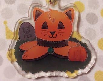 Halloween Jack-O-Lantern Pumpkin Kittypi | 2 inch double sided acrylic charm
