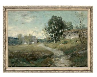 Farmhouse | Vintage Painting | Antique Artwork | Original Art | Homestead | Farm Decor | Landscape Painting | Gallery Wall Art | Artwork