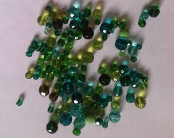 Czech Fire-polished Bead Mix 100g - Greens, Reds and Blues Available
