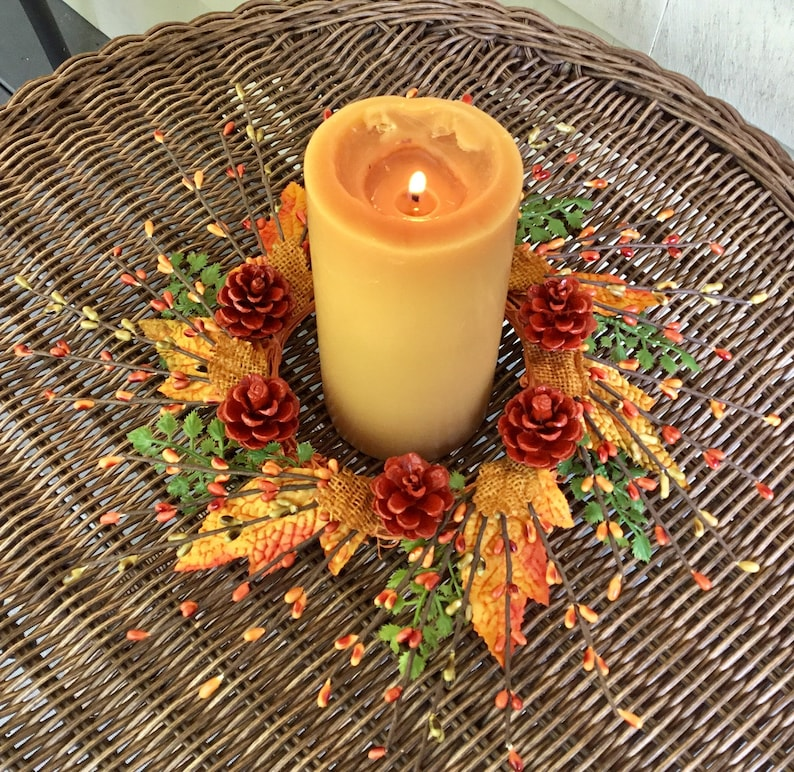pip berry and pinecone candle ring Fall home decor Autumn  candle ring centerpiece Autumn Thanksgiving candle ring Harvest candle ring