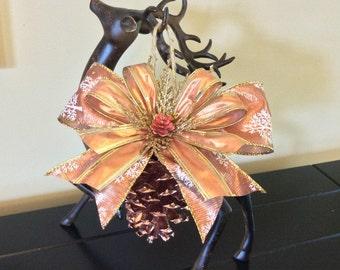 Copper pinecone ornament, Christmas ornaments, pinecone ornaments, handmade ornaments, copper ornaments, pinecone crafts, rustic ornament