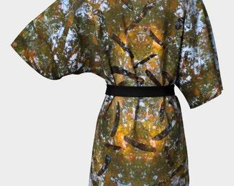 Reflective Dreams Celtic Hearts Polyester Silky Knit - Kimono Robe, Loungewear, Lingerie, Pajamas