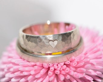 Wedding rings hammered white gold your is my whole heart