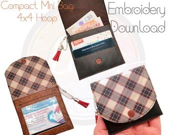 Mini Compact, 4x4 Hoop, Elizabeth Bag, ID wallet, Embroidery Machine Design, Digital download, All ITH