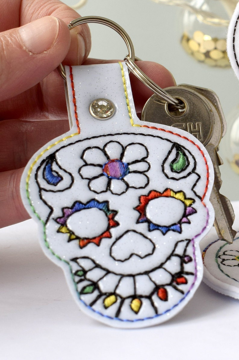 Sugar Skull Key Fob 4x4 hoop DIGITAL PATTERN