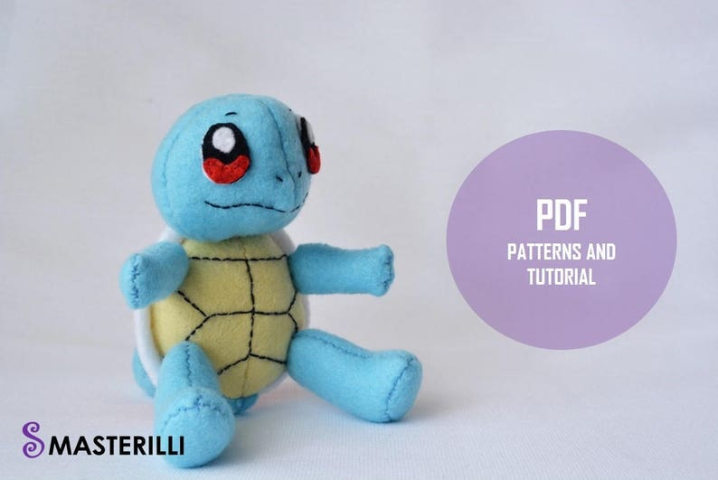 Pokemon Squirtle PDF Toy Sewing Patterns and Tutorial