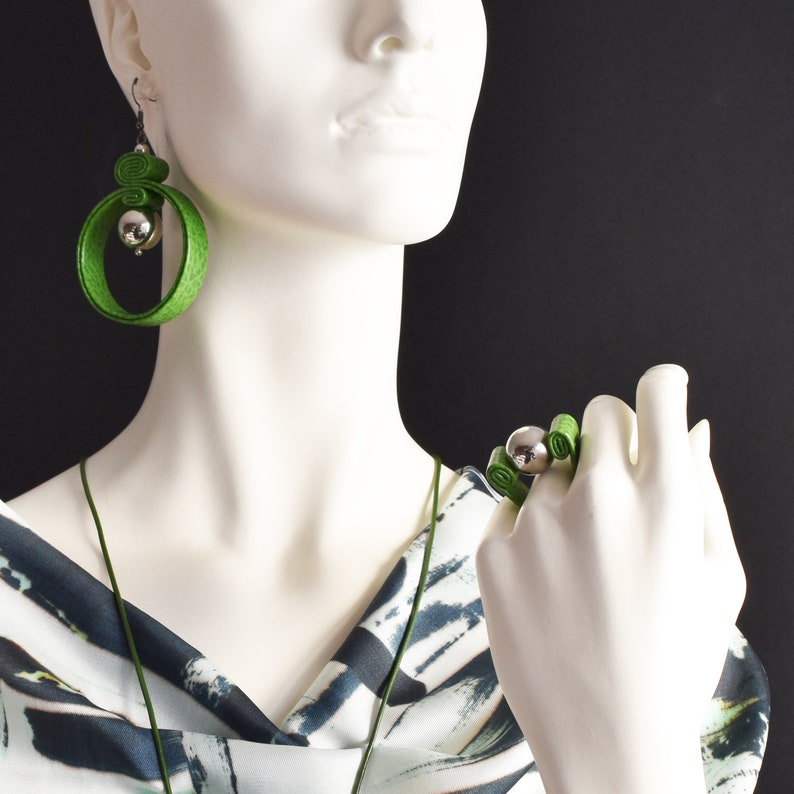 Green and silver leather circle earrings