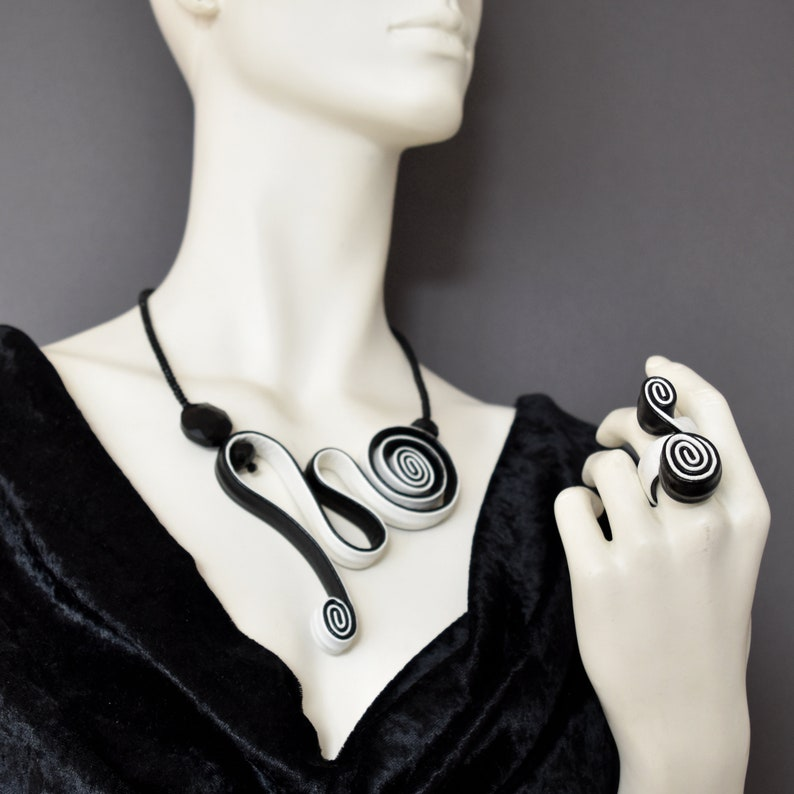 crystal necklace leather ring leather necklace avant garde jewelry set Stylish black and white set statement ring wrap leather set