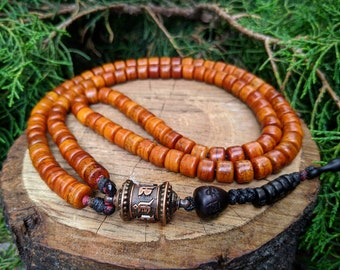 Nepal DIY Handmade Yak bone Turquoise Brass Inset Beads Charms Japa Mala Necklace Tibetan Prayer Beads