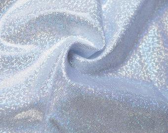 Lycra Hologram Fabric 4 Way Stretch Spandex - White