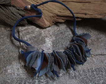 Statement necklace Leather fabric blue brown Jeans Cotton Necklace Statement Chain chain cotton fabric blue tones genuine leather brown