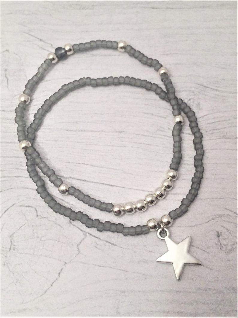 Bracelet of 2 Set Grey Delicate Silver Heart Star Cross Charm Pendant Beaded Bracelet Minimalist Smoky Gray Delicate Silver Heart Star Cross