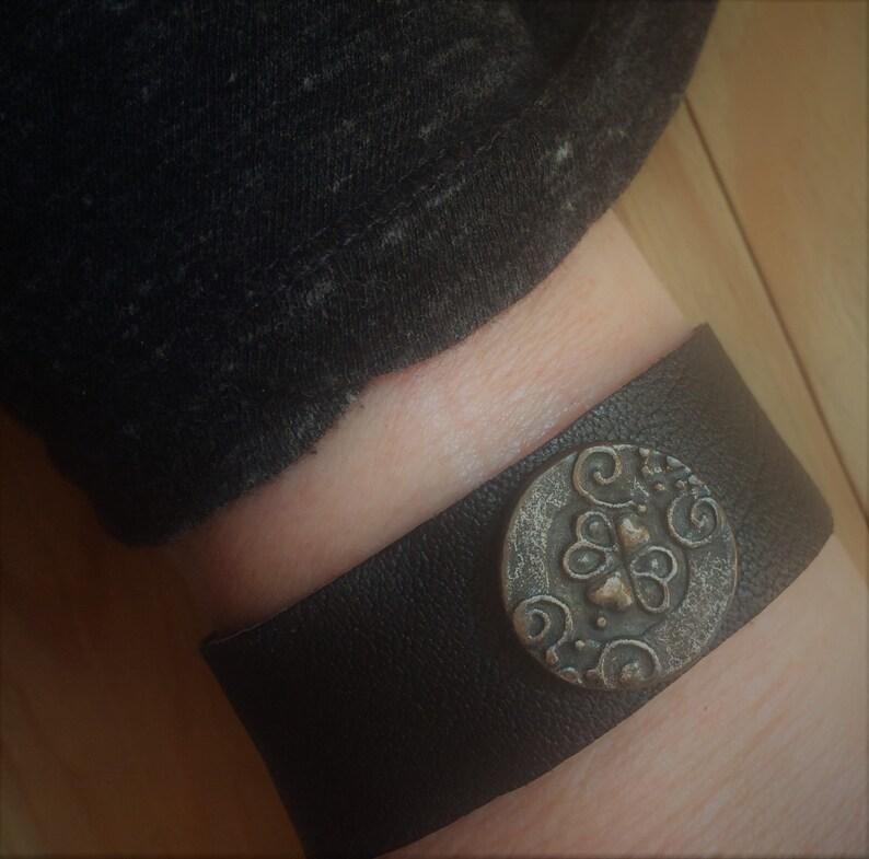 Bracelet Real Leather Gothic Leather Bracet Black Charm Black Charm Black Charm