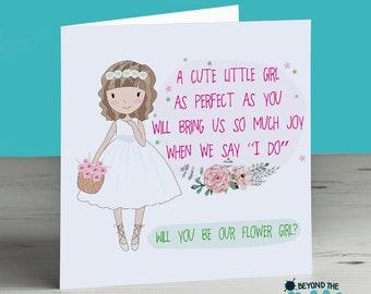 Flower girl card etsy personalised flower girl card flower girl proposal will you be my flower girl cute pretty wedding invitation short brown hair mightylinksfo