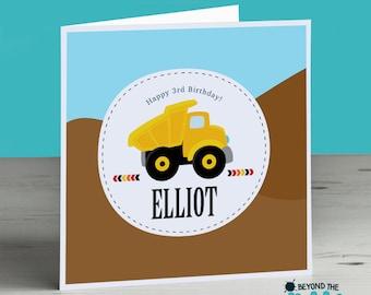 Personalised Construction Birthday Card Son Bulldozer Boy Dumptruck Nephew