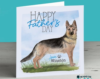 acd8b1a8 German Shepherd Alsatian Personalised Father's Day Card From The Dog For Dad  Daddy