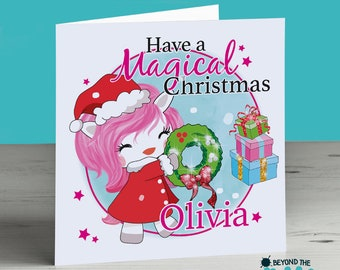 Personalised Unicorn Christmas Card - Have A Magical Christmas - Cute Unicorn Card - Xmas Card