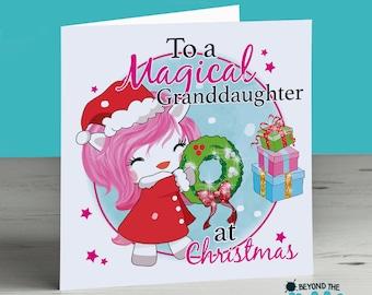 Personalised Unicorn Christmas Card - To A Magical Niece - Mum - Nan - Sister - Daughter - Grandma - Nanny - Auntie - Aunt - Nanna - Cousin