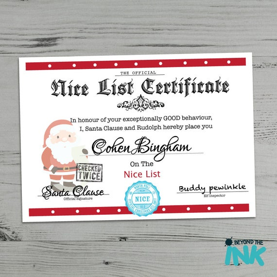 Personalised Nice List Christmas Certificate From Santa Clause