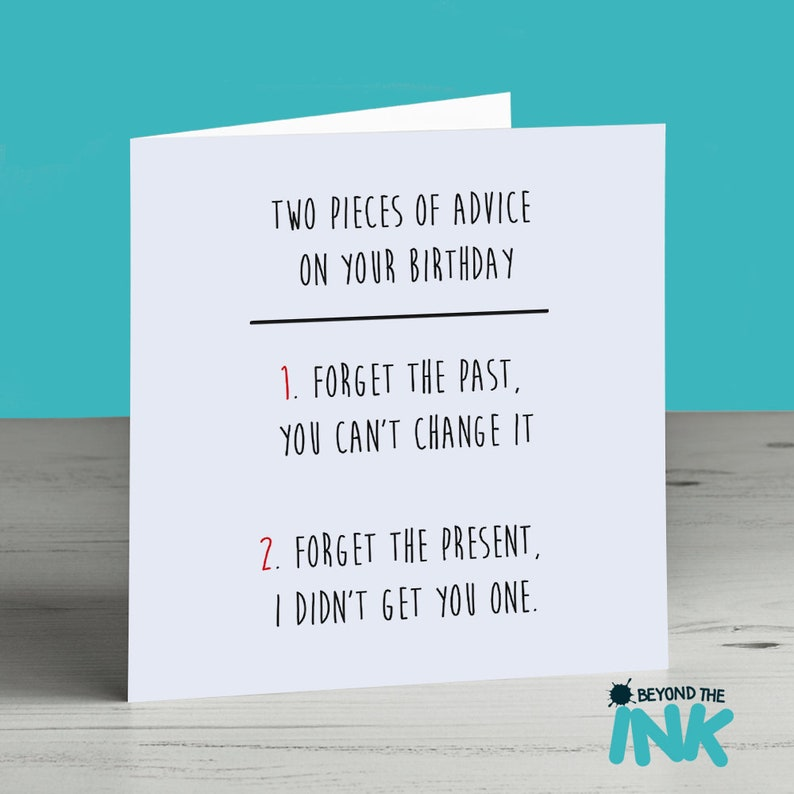 No Present Funny Birthday Card Brother Dad Uncle Best Friend