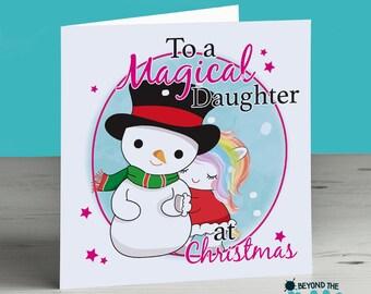 Personalised Unicorn Christmas Card - To A Magical Daughter - Mum - Nan - Sister - Niece - Grandma - Nanny - Auntie - Aunt - Nanna - Cousin