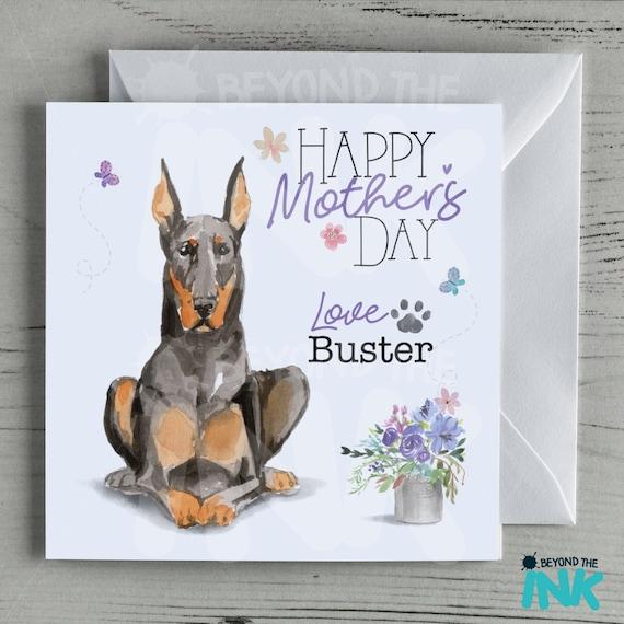 Mothers Day Card From The Dog Mum Mam Mom Fur Baby Dobermann Doberman Pinscher