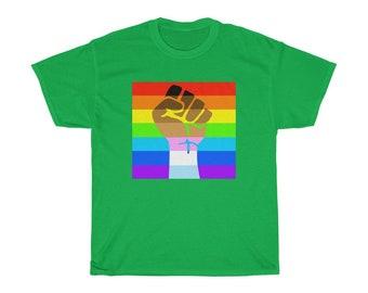 LGBTQIA Pride Trans Black LGBT Rainbow Gay Lesbian Bi Flag Resist LGBTQ Unisex Heavy Cotton Tee