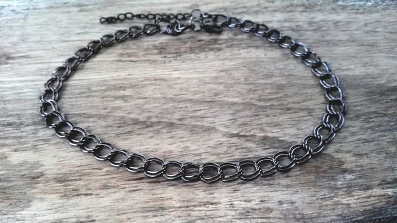 Twisted 9mm Double Link Chain Necklace girlswomen/'s gift Black gunmetal Alluminium adjustable Choker  bracelet Tarnish resistant