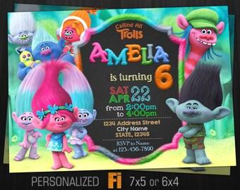 Trolls Invitation Birthday Party Fur Cartoon Trols Personalized Printable Digital File