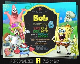 Spongebob Invitation Birthday Party Squarepants Under The Sea Deep Personalized Printable Digital File