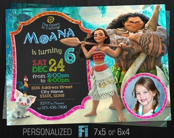 Moana Invitation Birthday Party Disney Princess Wild Girl Personalized Printable Digital File