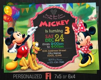 Mickey Mouse Invitation Minnie Birthday Party Pluto Disney Personalized Printable Digital File