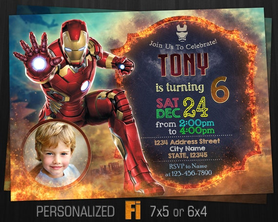 Iron Man Invitation Iron Man Birthday Party Marvel Ironman Etsy