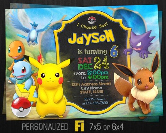 Pokemon Invitation Birthday Party Eevee