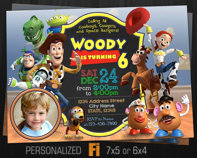 Toy Story Invitation Toy Story Birthday Party Pixar Disney Woody Jessie Buzz Lightyear Bullseye Personalized Printable Digital File