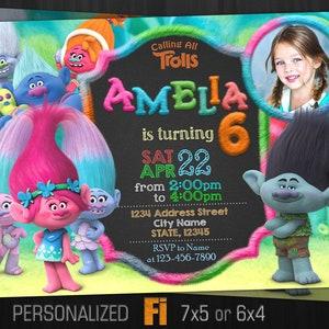 Personalised TROLLS DIGITAL Kids Birthday Invitations YOU PRINT