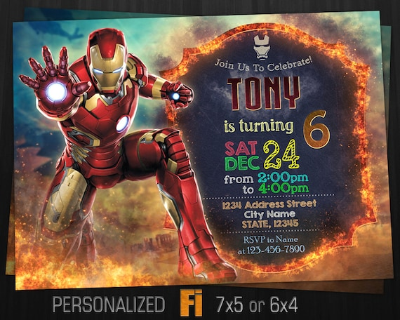 Iron Man Invitation Birthday Party Marvel Ironman