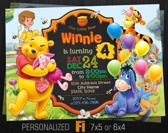 Winnie the Pooh Invitation, Winnie the Pooh Birthday Party, Disney, Winnie Pooh Invitation, Winnie, Personalized, Printable, Digital File