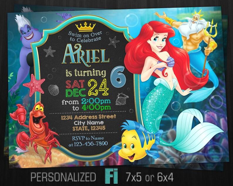 Little Mermaid Invitation Birthday Party
