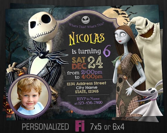 The Nightmare Before Christmas Invitation, Nightmare Birthday Party, Horror  Invitation, Helloween, Personalized, Printable, Digital File