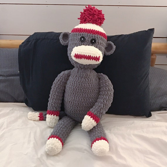 Crochet Sock Monkey Pattern Big Soft Bernat Blanket Wool
