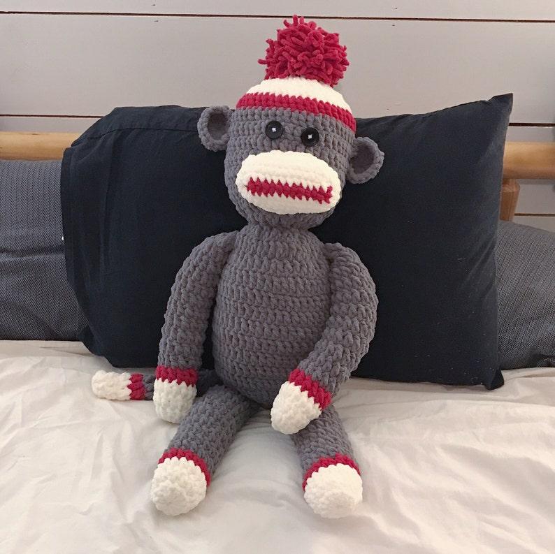 Crochet Sock Monkey Pattern Big Soft Bernat Blanket Wool For Etsy