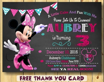 Minnie Mouse Invitation Party 3rd Birthday Free Thank You Card