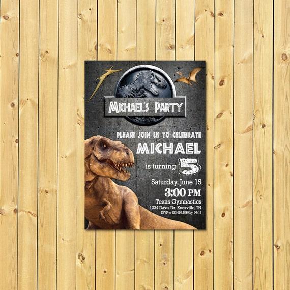 Jurassic World Invitation Park Birthday