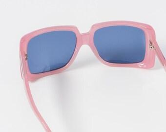 3f39cb377a1 Huge Square Karen Walker Pink Sunglasses with Blue Lens
